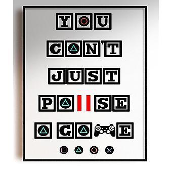GnG Gaming A5 Word Citat Indrammet Plakater for Kids Soveværelser Artwork kan ikke Pause PS