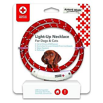 Penn-Plax American Red Cross LED Nylon Dog Necklace - One Size