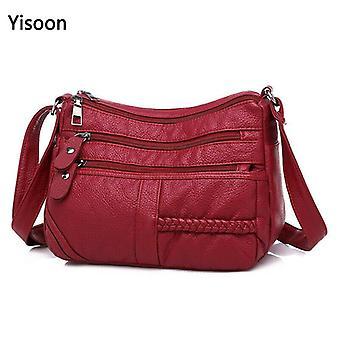 عالية الجودة المرأة لينة حقائب الكتف الجلود متعددة الطبقات المتسوق | حقائب الكتف (أحمر)