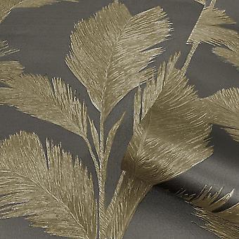 Alessia Leaf Gold Gunmetal Wallpaper