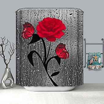 Rose Print Inodoro Baño Impermeable Lavable Cortina de Ducha