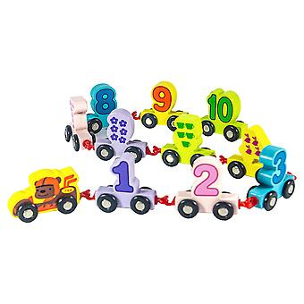 Children's Fun Digital Small Train Assembly Combination Early Education Wooden Drag Intelligent Building Block Toy Car Gift