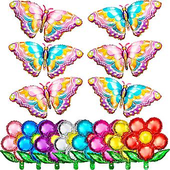 14 Pieces Butterfly-shaped Aluminum Foil Balloons, For Birthday Decorations, 10 Colors