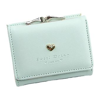 Women Sweet Heart Small Wallet Faux Leather Short Coin Purse Multi-slots Button Bag Solid Color Card Holder Pocket