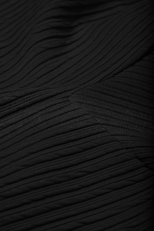 Topshop Black Ribbed Hip Skater Skirt SK214-12