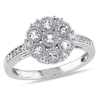 4/5 Carat (ctw) Created White Sapphire Floral Ring In Sterling Silver
