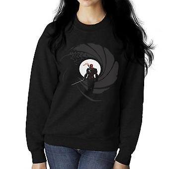 Deathstroke Slade Wilson Licence To Slash James Bond Gun Barrel Women's Sweatshirt