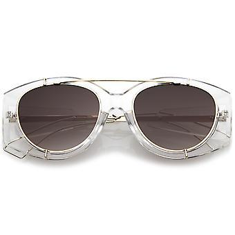 Futuristic Translucent Wire Metal Arms Crossbar Round Flat Lens Oversize Sunglasses 53mm