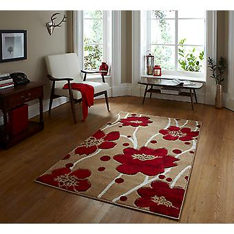 Verona 216 Beige-Red Beige and Red Rectangle Rugs Modern Rugs