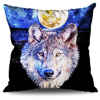 Moon Wolf Beast Linen Cushion 30cm x 30cm | Wellcoda