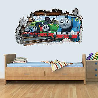 GNG Train Friends 3D Smashed Wall Art Decal Vinyl Sticker Boys Girls Bedroom Trains