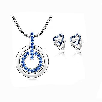 Womens Dark Blue Circle Pendant Necklace With Matching Love Heart Earrings Set