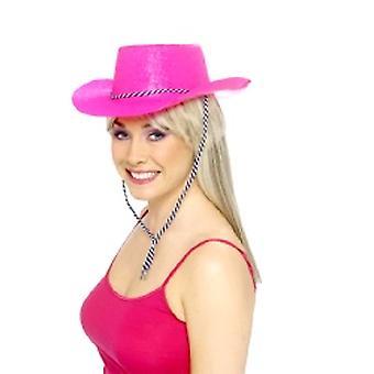 Brokat kapelusz kowbojem neonowy róż