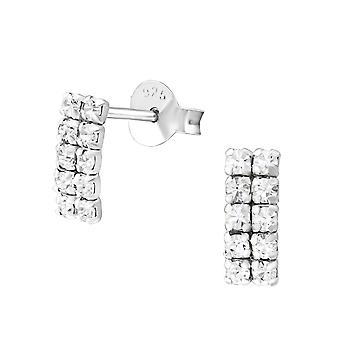 Square - 925 Sterling Silver Crystal Ear Studs - W37256x