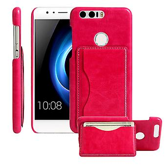 Back cover bag with card holder Pink for Huawei honor 8 sleeve case pouch can be placed