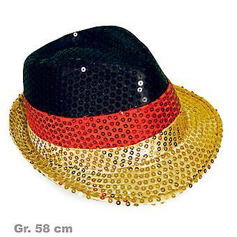 Paillettes or rouge Allemagne Allemagne noir fan de chapeau