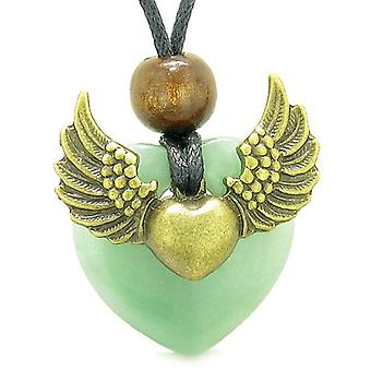 Angel Wings Double Lucky Heart Donut Amulet Magic Powers Green Quartz Pendant Necklace