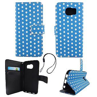 携帯電話携帯電話サムスン銀河 S6 水玉ブルー ホワイト ポーチ