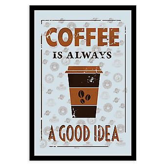 Coffee is always A good idea mirror wall mirror with black plastic frame, wood.