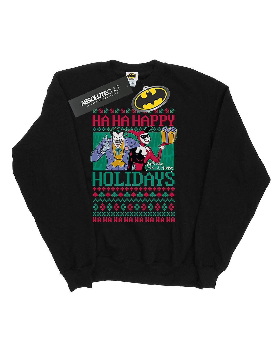 DC Comics Men's Joker And Harley Quinn Ha Ha Happy Holidays Sweatshirt