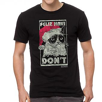 Grumpy Cat Feliz Navi Don?t Men's Black T-shirt