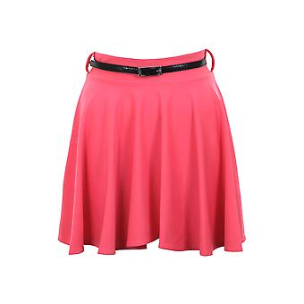 Ladies Belted Pleated Skater Flared Jersey Party Dress Women Skirt