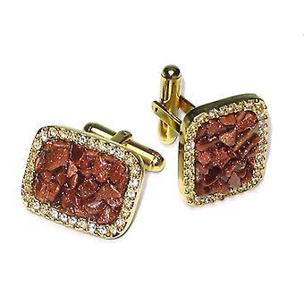 Gold-Tone CuffLinks Stones Men's Cuff Links