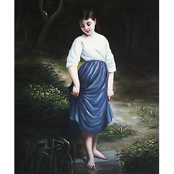 Una ragazza felice, pittura ad olio su tela, 50x60 cm