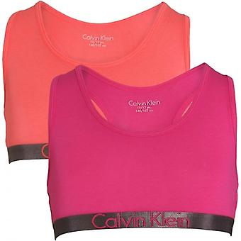 Calvin Klein Girls 2 Pack Customized Stretch Bralette, Calypso Coral / Lilac Rose, X-Large