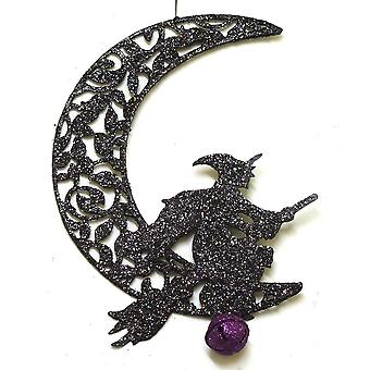 GISELA GRAHAM Ornament 90092 Moon Hanging Witch Gisela Graham 90092