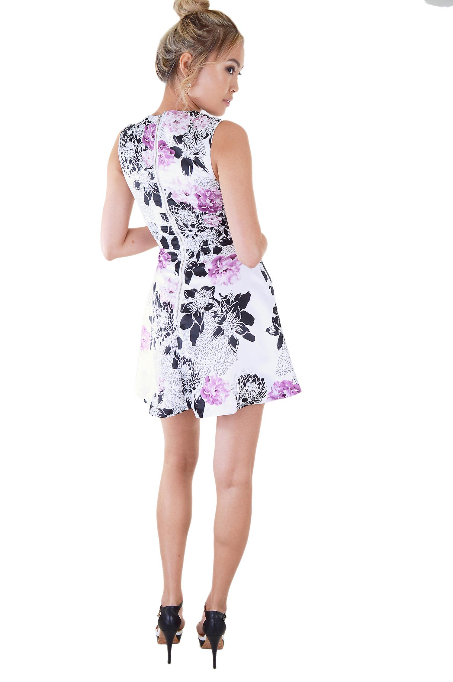 LMS Floral Mini Dress With Plunge Neck And Box Pleat Skirt
