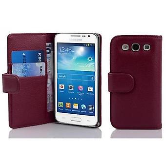 Cadorabo tapauksessa Samsung Galaxy EXPRESS 2 BORDEAUX LILA - Matkapuhelin tapauksessa jäsennelty Faux nahka seistä toiminto ja kortti tarjotin - kotelo kattaa suojakotelo tapauksessa kirja taitto tyyli