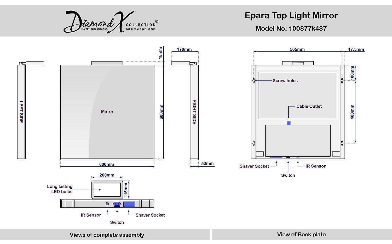 Epara Top Light miroir avec k487 capteur et prise rasoir