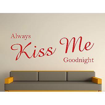 Siempre Kiss Me Goodnight arte etiqueta de la pared - rojo cereza