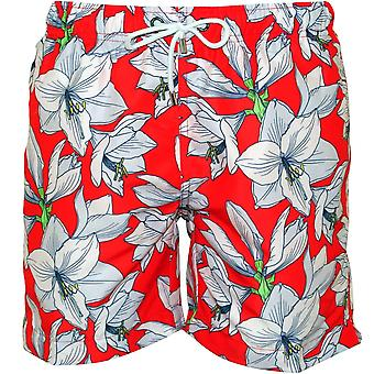 Franks Coolum Fire Floral Print Swim Shorts, Red