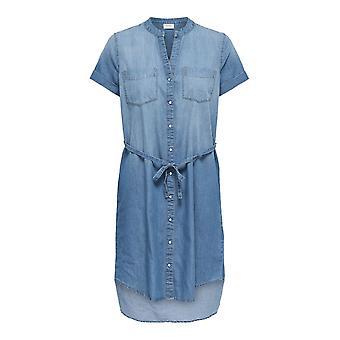 Chemise robe Look Blouse coton Longshirt blue-jeans femmes courtes manches Casual