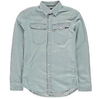 G Star Mens 3301 långärmad skjorta Casual lättvikts bomull bröst ficka vik