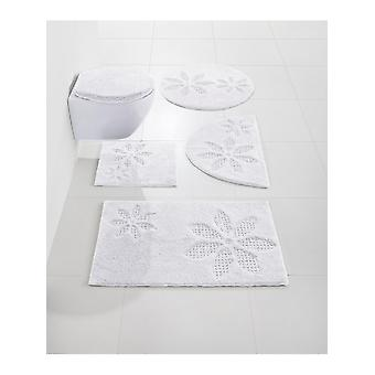 Heine home tapis de bain salle de bain tapis avec dessin de fleurs blanc 100 % coton 70 x 110 cm