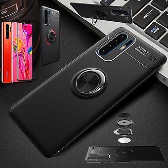 Para Huawei P30 Pro anillo metal magnético ultra fino funda Negro funda casos + 4D curvado vidrio duro
