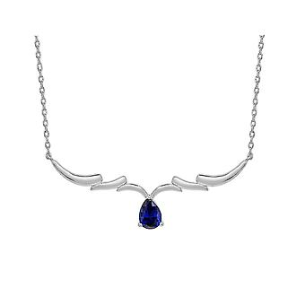 Ah! Jewellery Sterling Silver Wing Pendant Necklace With Sapphire Pear Crystals From Swarovski
