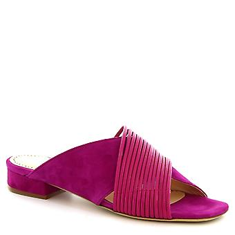 Talons bas la main sandales pantoufles Leonardo chaussures femmes en daim fuchsia
