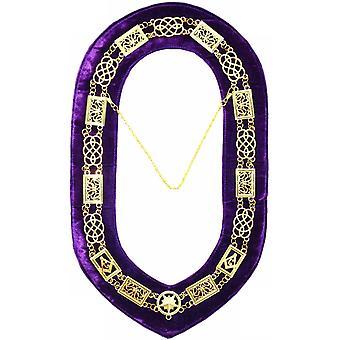 Grand Lodge-ketjun kaulus-kulta/hopea violetti + ilmainen kotelo
