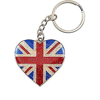 Heart Shaped Union Jack Glitter Keyring