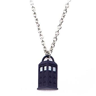 Zinc Alloy Doctor Who Tardis Pendant with Chain