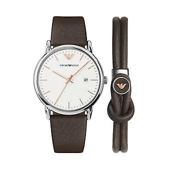 Emporio Armani Ar80006 Brown Leather Strap White Dial Men's Watch