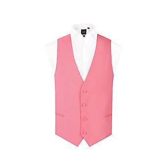 d/Spoke Mens Candy Pink Waistcoat Regular Fit 4 Button Novelty Party