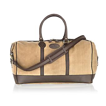Beige Canvass And Brown Leather Large Holdall 22.0