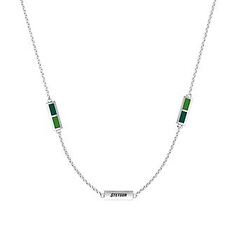 Stetson University Sterling Silver Engraved Triple Station Necklace In Green & Green