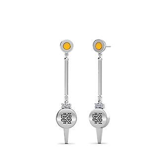 Kennesaw State University Engraved Sterling Silver Diamond Dangle Earrings In Yellow