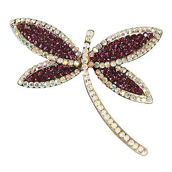 Eeuwige collectie Dragonfly paars/Aurora Borealis Crystal kostuum broche
